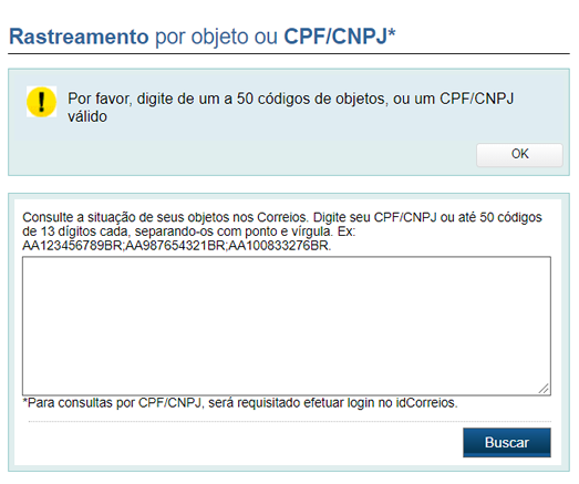 rastreamento de objeto correios CPF e CNPJ